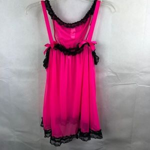 Victoria's Secret Hot Pink Babydoll Set NWT Large